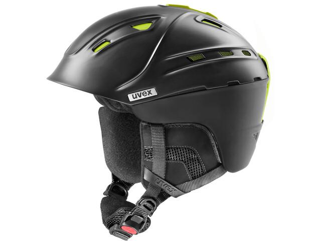 UVEX p2us IAS Ski Helm black mat yellow